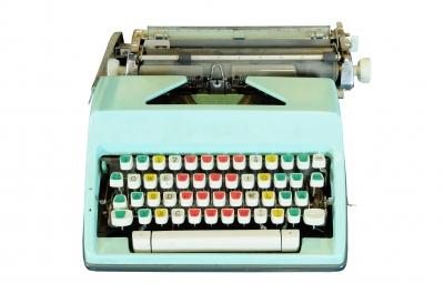 vintage blue typewriter for web site