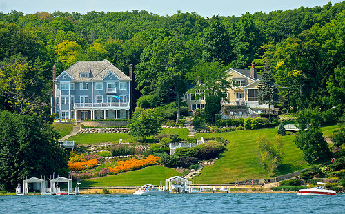 two lake geneva mansions summer view from the lake